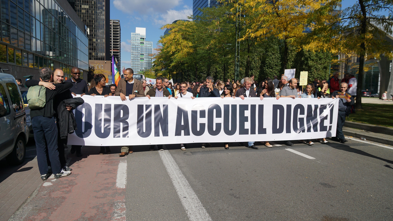 © Flickrcc Miguel Discart Manifestation de soutien aux réfugiés, 27 septembre 2015.
